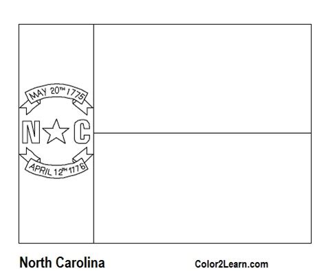 state of north carolina flag and map coloring pages