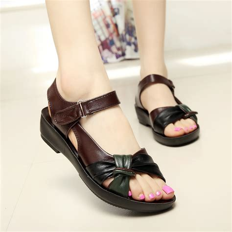 Best Quality Sandal Flat V49 2017 summer shoes flat sandals aged leather flat