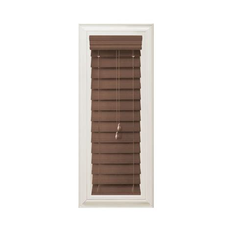 home decorators blinds home depot home decorators collection cut to width maple brown 2 1 2 in premium faux wood blind 10 5