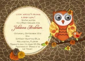 autumn owl and bird baby shower invitation fall theme
