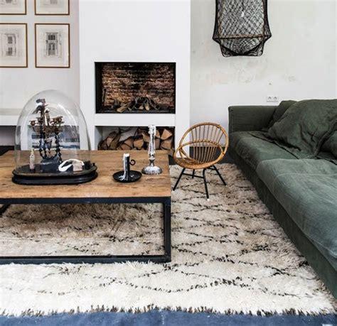 zwart vloerkleed landelijk berber vloerkleed met ruit patroon inrichting huis