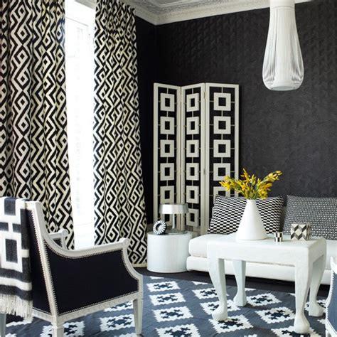 black geometric curtains monochrome geometric living room modern living rooms