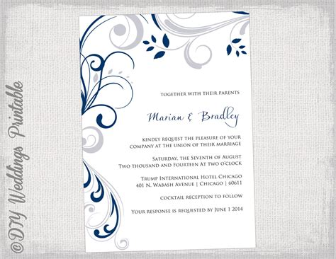 printable wedding invitation templates silver gray and navy