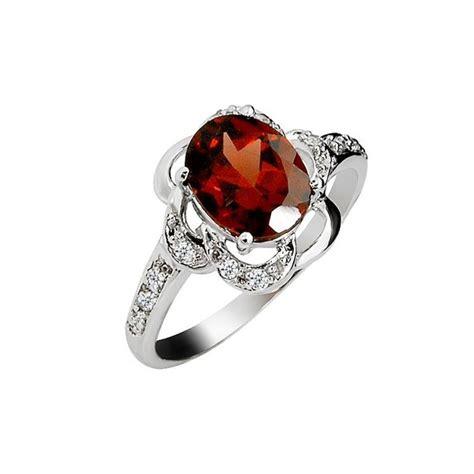 2 carat garnet gemstone engagement ring on silver