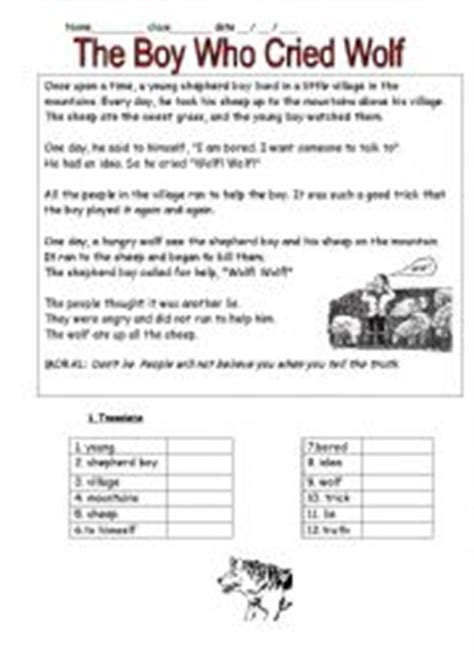 printable version of the boy who cried wolf english worksheets the boy who cried wolf
