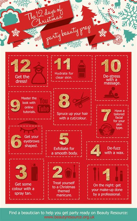 12 days of christmas beauty prep infographic beauty