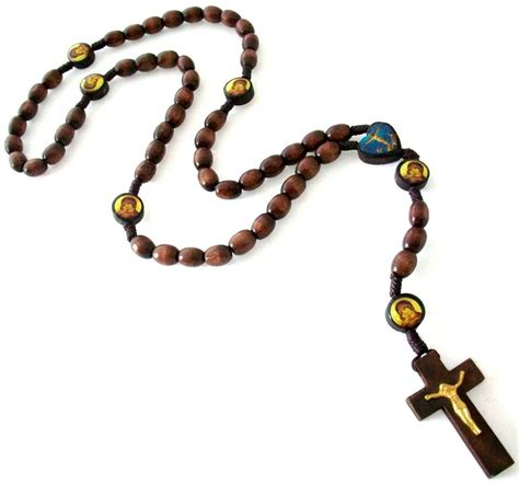 catholic brown wooden cord rosary necklace prayer