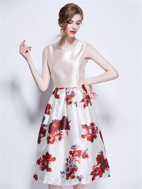Floral Print Sleeveless Dress outlet amazing tantalizing white floral print sleeveless
