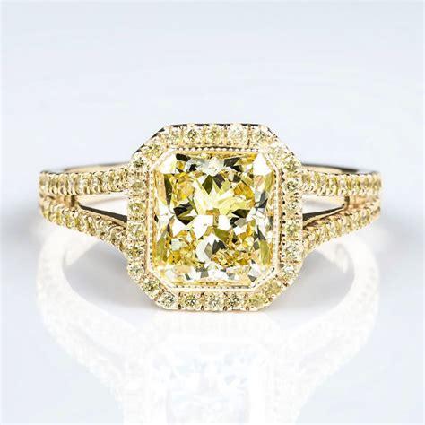radiant halo fancy light yellow engagement ring 2