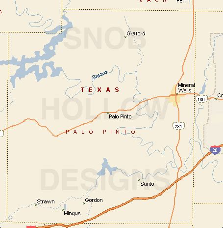 santo texas map palo pinto county texas color map