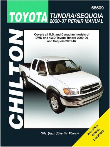 free car repair manuals 2003 toyota sequoia interior lighting chilton 00 06 toyota tundra 01 07 sequoia technical specification book 68609 o reilly auto parts