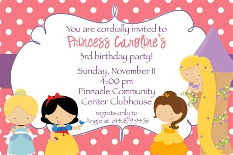 Disney Birthday Invitation Cards Disney Princess Party Invitations Google Search