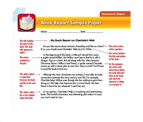 exles of book report in book report template 13 free word pdf documents