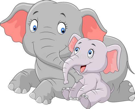 Cartoon Cute Mother And Baby Elephant Stock Vector ...
