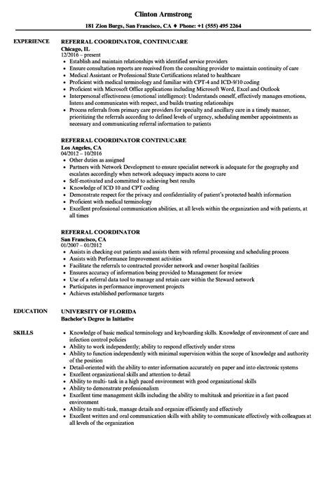 referral coordinator resume sles velvet