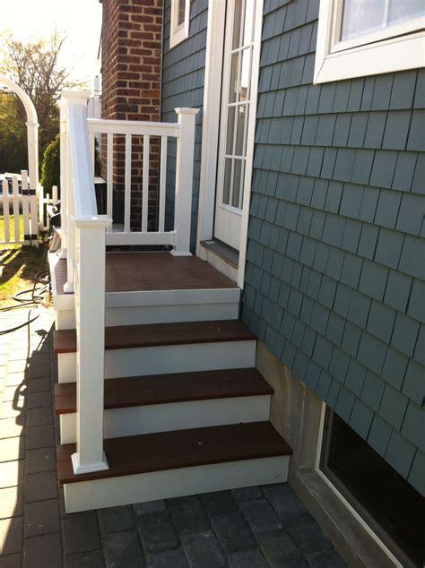 outdoor steps  railing side entrance backdoor backyard