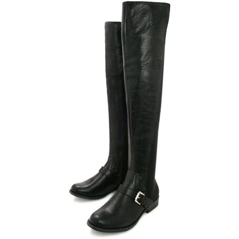 buy evelin flat buckle stretch knee boots black