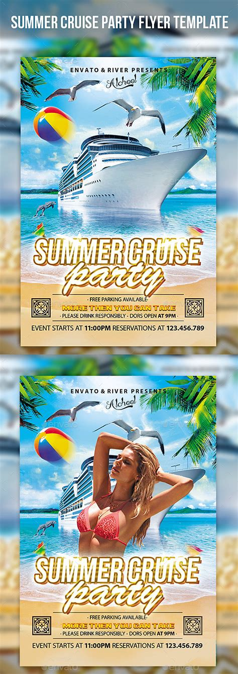 Summer Cruise Party Flyer Template By Cerceicer Graphicriver Cruise Flyer Template Free