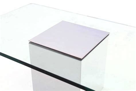 Rectangular L Base by Polished Steel Cube Shape Base Rectangle Glass Top Coffee