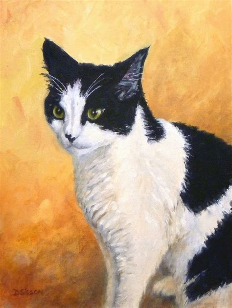 daily painting projects andy painting cat portrait animal pet commission black white cat