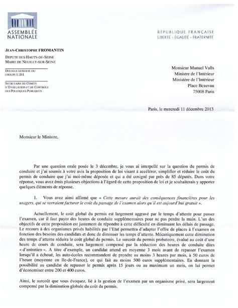 Exemple De Lettre à Un Ministre Courrier Au Ministre De L Int 233 Rieur Sur Le Permis De Conduire Jean Christophe Fromantin