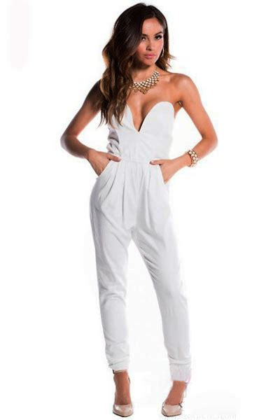 Turtle Neck Fitted Romper Grey Size L 1 Stylish White Fitted V Neck Sleeveless Harem Jumpsuit