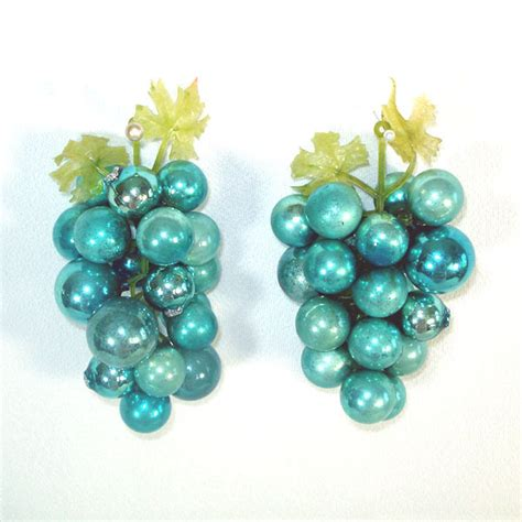 decorative blue glass grape clusters made with christmas