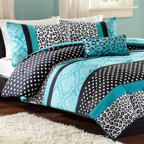 Teal Bed Set mizone xl comforter set teal leopard free