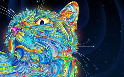 colorful cat wallpaper psychedelic cat almost white girls