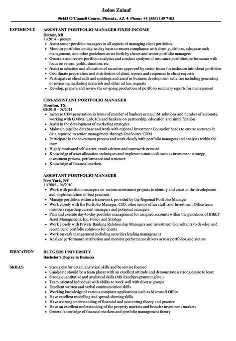 portfolio manager resume fiveoutsiders