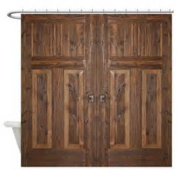 wooden shower doors wooden door shower curtain by thecafemarket