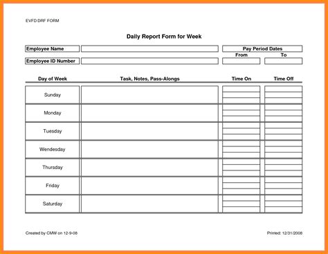 Work Report Template Templates Station Work Sling Summary Report Template