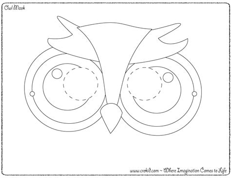 owl mask coloring page owl images for kids coloring home