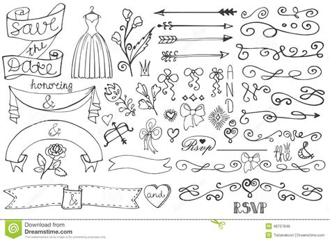 doodle templates doodle bridal shower border ribbon decor elements stock