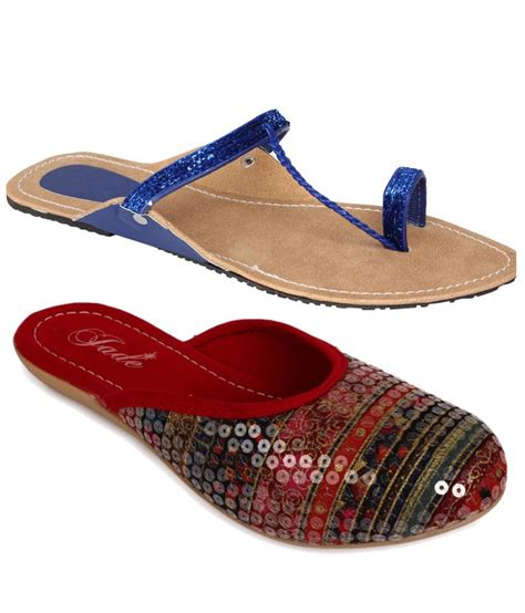 comfortable red flats jade comfortable combo of blue and red flats price in