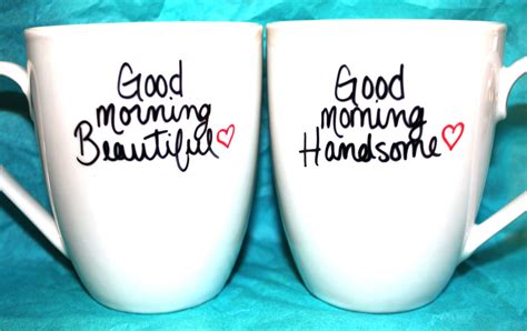 VALENTINES DAY Good Morning Beautiful/Handsome Set of 2 Mugs
