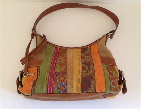 fossil patchwork leather purse handbag hobo embossed