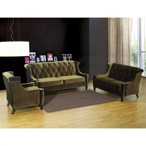 velvet living room furniture armen living barrister 3 piece velvet sofa set in green