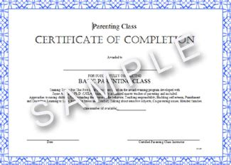Parenting Class Certificate Of Completion Parenting Class Certificate Of Completion Template