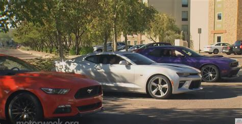 mustang with hemi engine motorweek 2016 camaro ss vs mustang gt vs challenger 392