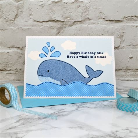 wale birthday whale personalised birthday card by jenny arnott cards