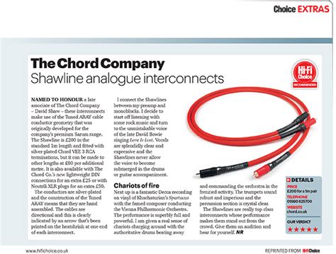 hi fi choice speaker cable reviews product review chord shawline analogue interconnects hi
