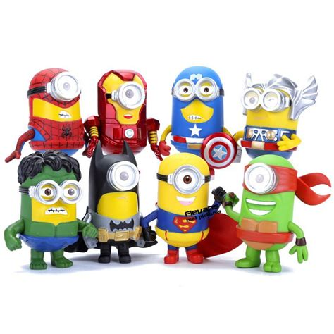 Set Minion 8pcs set 3d eye minion cos superheroes iron