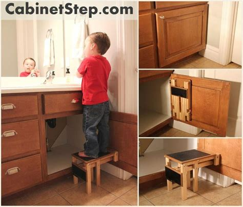 folding step stool connected   cabinet door pulls