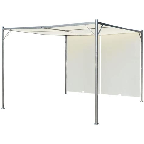 vidaxl pergola with adjustable roof white steel 9 8 - Flachdach Pavillon 3x3