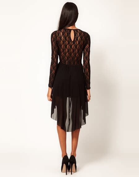 pattern dress short front long back high low hem bateau neck short front long back black lace