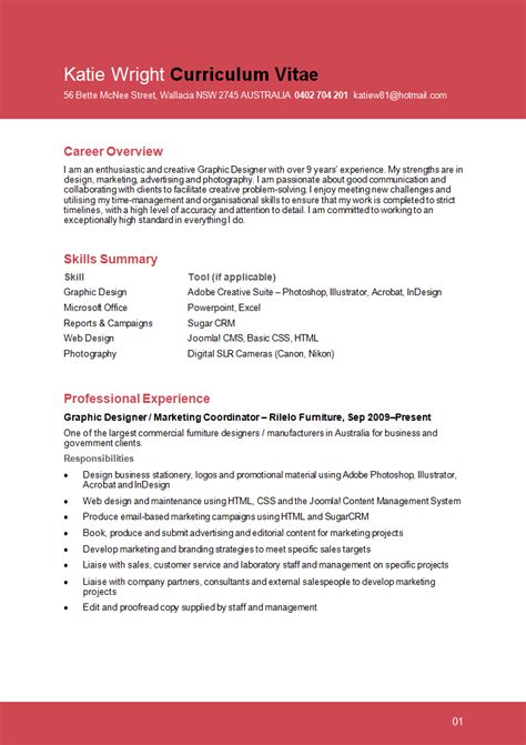Resume Summary Exles Graphic Design Resume Format Resume Format Graphic Designer