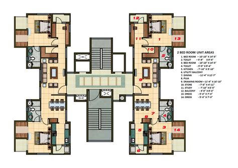2 Bhk Apartment Cluster Tower Layout Plan N Design