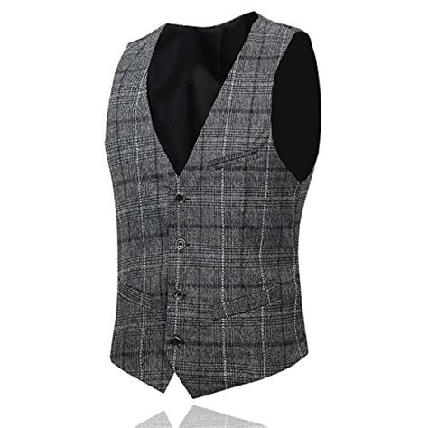 Set Check Blazer Vest Check s plaid modern fit 3 suit blazer jacket tux vest