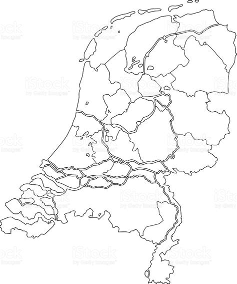 netherlands map outline netherlands map outline white background stock vector